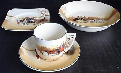 "Royal Doulton: Coaching Days series - Tea Cup & Saucer, 8"" Bowl & Side Plate"