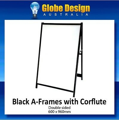CORFLUTE INSERTED A-Frame sign/ Sandwich board/Aframe - Black steel 600x960mm