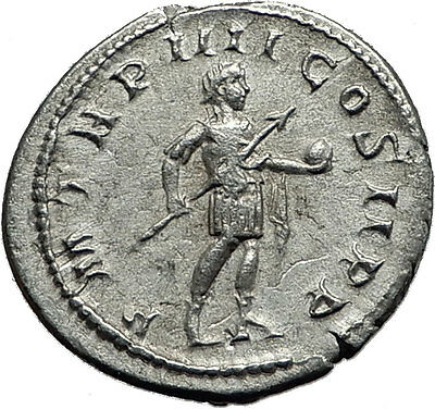 GORDIAN III 240AD Rome Authentic Original Ancient Silver Roman Coin Globe i59142