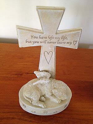 Pet Dog Memorial with Angel's Wings and Cross -Never leave my heart - New