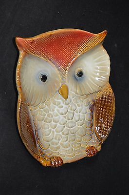 Ceramic Wide Eyed Hoot Owl Holiday Thanksgiving Candy Dish Plate Spoon Rest