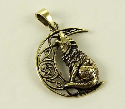 Lisa Parker Bronze Gothic Wicca Jewellery Wolf On Moon Pendant