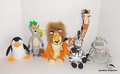 Madagascar Plush Lot Set Marty Melman Gloria Alex King Julien EUC
