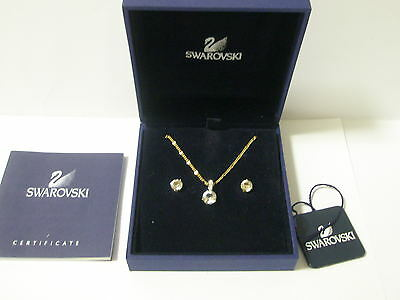 Swarovski Silver Crystal Signed Set Solitaire Necklace And Earrings New Boxed