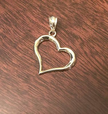 14K Yellow Gold Polished Open Heart Pendant Charm - 1 Inch Length