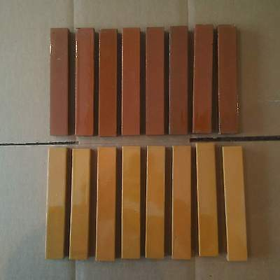 1 Lot of 16 Victorian Fireplace Tiles 2 Types of Brown Architectural Salvage