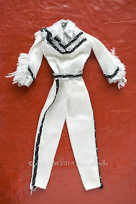 Vintage Barbie Western #1757 1980 White Jumpsuit Black and silver accents