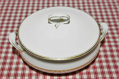 VINTAGE Alfred Meakin Covered Casserole white w/gold c.1907-1914