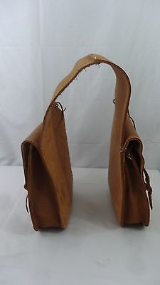"""Rough Nautral Leather Saddle Bags Double Buckle Horse Tack - 10"""" x 12"""""""