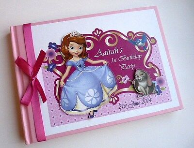 Personalised Princess Sophia/girls /first/1St Birthday Guest Book Any Design