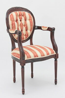 French Round Back Arm Chair in Louis XVI Style with Upholstered/Tufted Backrest