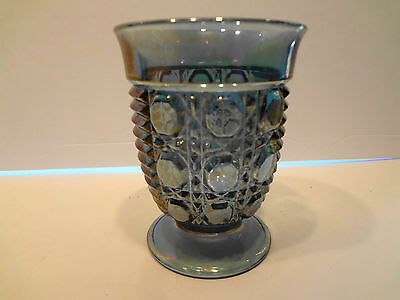 Indiana Glass Iridescent Blue Carnival Glass Water Glass Vintage