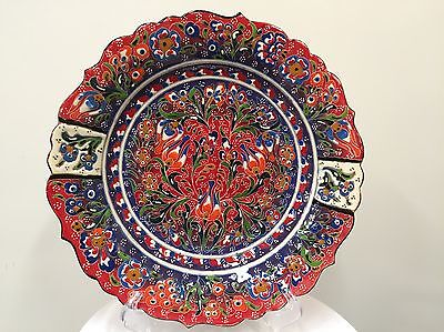 Turkish Hand Painted and Handmade Ceramic( 30cm ), Colorful Traditional.