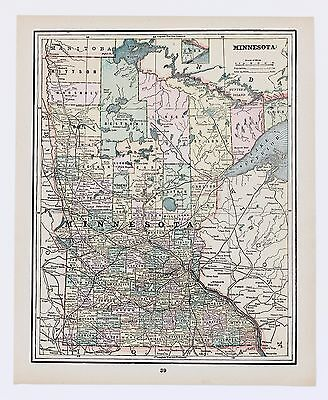 1894 Minnesota Map Railroads St Paul Minneapolis Itasca Counties Color Original