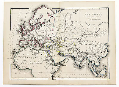 1856 World Map as Known to the Ancients Original Hand-Colored W. Hughes