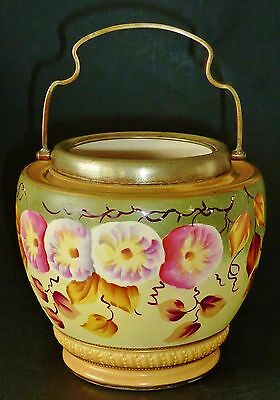 Pretty HAND PAINTED ANTIQUE BLUSH biscuit barrel base WOODS &Co Morning Glory