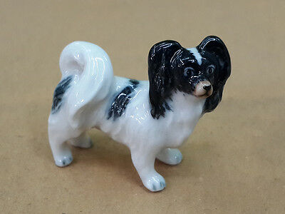 Hand Painted Miniatures Collectible Ceramic Papillon Dog Breed FIGURINE