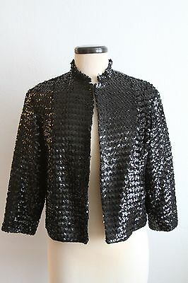 Vintage Black Sequin Party Blazer S M