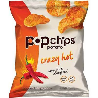 Popchips Crazy Hot Popped Snack Chips, 0.7 Ounce -- 72 per case.