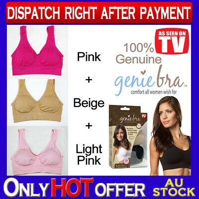 Genuine Genie Bra Comfort Support Seamless S to 3XL Pink Beige Light Pink