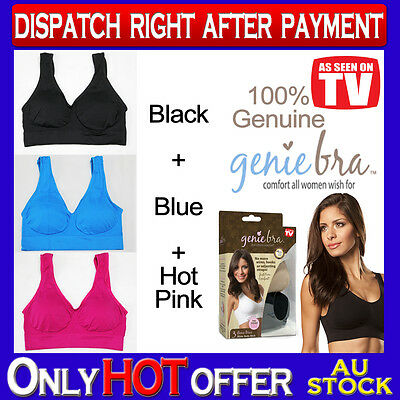 Genuine Genie Bra Comfort Support Seamless S to 3XL Black Blue Hot Pink