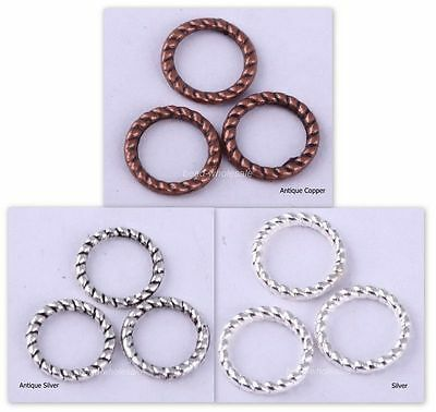 200PCS Tibetan Silver Copper Tone Twist-Ring Charm For Jewelry Making DIY