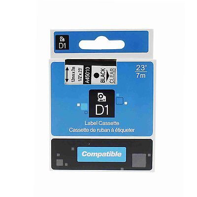 Black on Clear Label Tape Compatible with DYMO D1 45010 1/2 X 23' LM100 LM120P