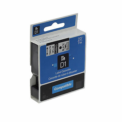 2x Label tape Compatible with Dymo D1 45013 BLACK on WHITE 12mmx7m Dymo LM280