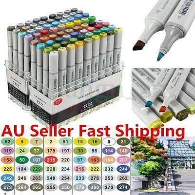 72Pcs Colors Artist Copic Sketch Markers Set Fine Nibs Twin Tip Board Pen Design