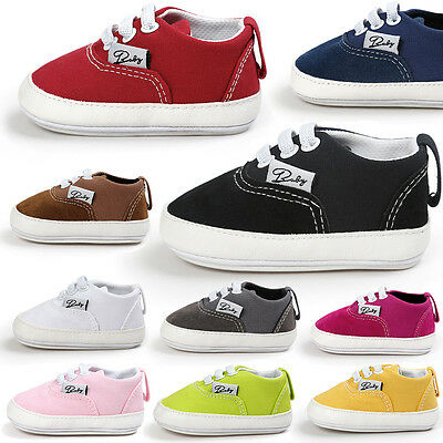 Toddler Newborn Baby Girl Boy Canvas Crib Shoes Soft Prewalker Anti-slip Sneaker