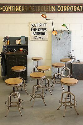 ONE (x1) Vintage Industrial Toledo Uhl Draftsman Stool Machine Age Chair Factory