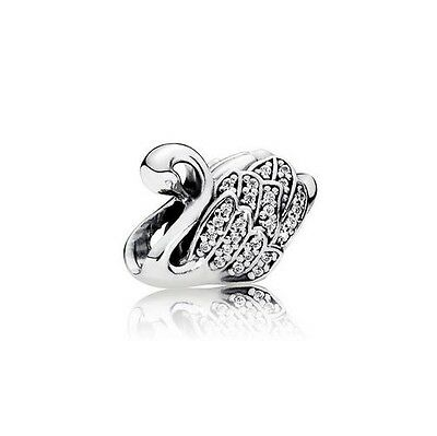 S925 Silver EURO Majestic Sparkly Shimmering Swan Charm - FREE Pandora Cloth
