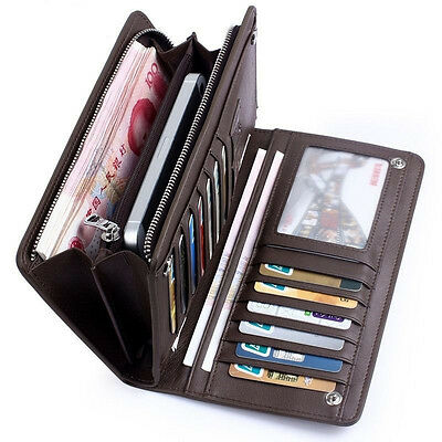 Men's Leather ID Card Holder Zip Wallet Purse Clutch Checkbook Billfold NEW