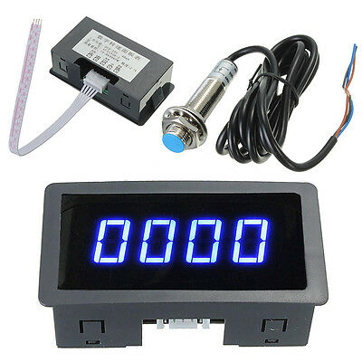 4 Digital LED Blue Tachometer RPM Speed Meter+ NPN Hall Proximity Switch Sensor