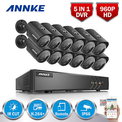 ANNKE H.264+ Surveillance DVR 16CH 4in1 960P Security Camera System Home Outdoor