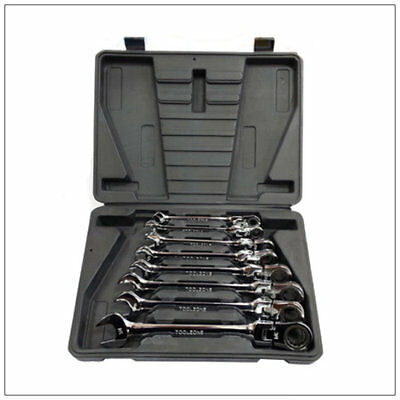 8pc Extra Long Ratchet Spanner Set 8 - 19mm Combination Ratchet Wrench/ Spanners