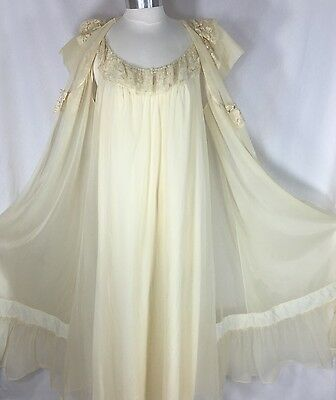Vtg Shadowline Size Large Nylon Nightgown & Sheer Peignoir Set Full Sweep Ivory