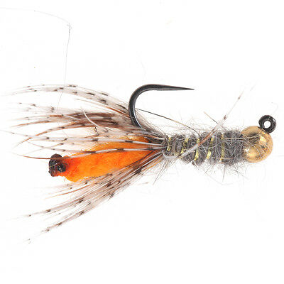 Peeping Caddis Jig Orange - (Tungsten Beads Nymphs, Fishing Flies)