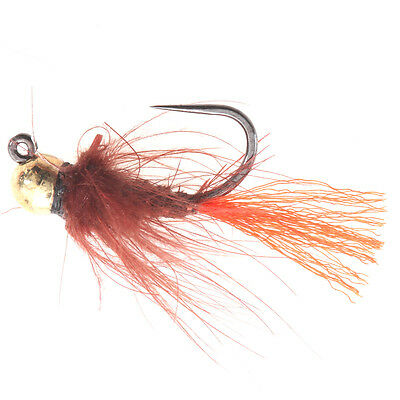 Brown Red CDC Caddis Jig - (Tungsten Beads Nymphs, Fishing Flies)