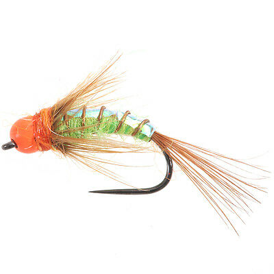 Tungsten BH Orange Caddis Green - (Tungsten Beads Nymphs, Fishing Flies)