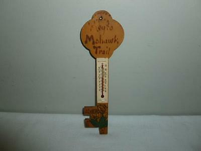 1940s Key to Mohawk Trail Wooden Pyrography Souvenir Thermometer