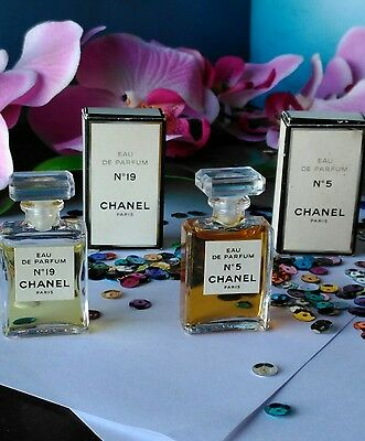 TWO CHANEL No 5 & No 19 Eau De Parfum 4ml  Miniature Bottles Perfume Boxed