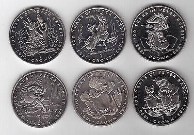 Gibraltar - 6 Dif X 1 Crown Unc Coins Set 1993 Year Peter Rabbit Beatrix Potter