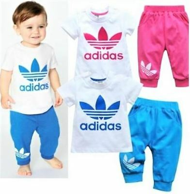 B5 Children Boy Girl 2pce Popular Summer Sport Pant Shirt Blue Pink Clothing Set