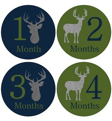 Monthly Baby Sticker Boy, Milestone Stickers, Month Stickers, Deer, Hunting- #69