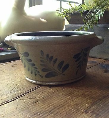 Rowe Salt Glaze Pottery Bowl w/ Handles
