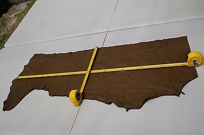Brown Elmo upholstery cowhide leather piece/off-cut 97 x 30 cm