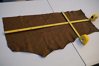 Brown Elmo upholstery cowhide piece/off-cut 75 x 30cm Grainy Cow leather