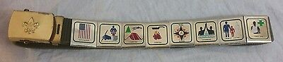 Vintage Boy Scouts Belt with Brass Buckle +8 Merit Badge Slides BSA