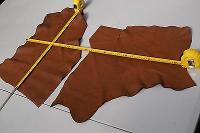 x2 Tan Elmo upholstery cowhide pieces/remnants Grainy Soft Cow leather